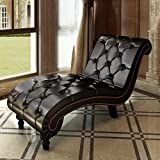 Chaise Lounge Sofa Chesterfield Brown Button Tufted