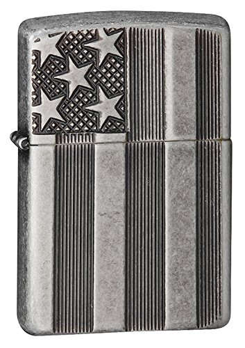 Zippo Armor American Flag Pocket Lighter, Antique Silver Plate