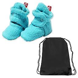 Zutano Booties Unisex Baby Fleece Slipper Socks and Toy Bag - Pool Blue - 3 Mth