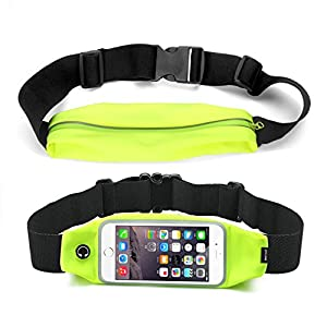 Flip Running Belt Runner Waist Pack Bag Fitness Running Belt for Exercise, Hiking, Travel iPhone 6 4.7 Touch Screen Large Capacity Size Adjustable Water Resistant Sweat proof Earphone Hole Money Belt