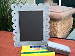 CHALK BOARD PICTURE FRAME IN ZINC WITH SCALLOPED EDGE