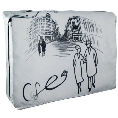 K-Cliffs Artistic Cafe in Paris Cross Body Laptop Shoulder Bag