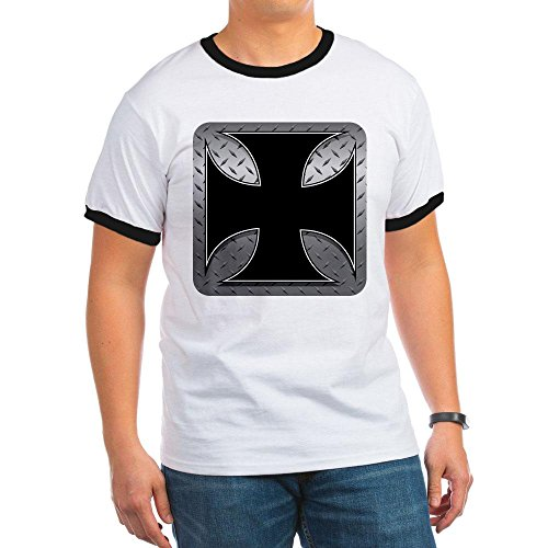 Royal Lion Ringer T-Shirt Maltese Iron Cross Plate - Black/White, XL