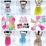 Toy - 15 Pieces of Barbie Doll Dresses Clothes Hangers & Shoes Bundle Lot D5