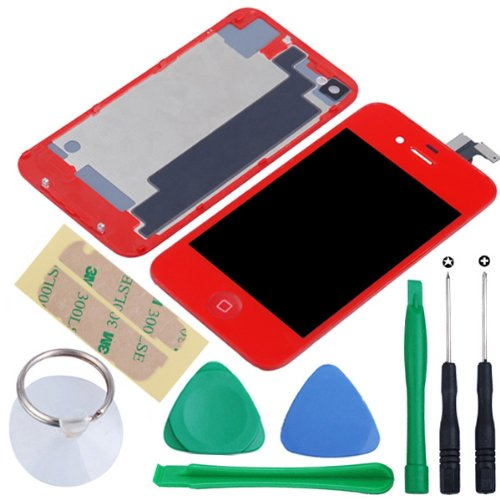 Replacement Full Set Front Lcd Display & Touch Screen Digitizer Assembly With Home Button + Back Cover Housing + 8Pcs Repair Opening Tools Kit Compatible For Verizon/Sprint Iphone 4 Cdma - Red front-55223