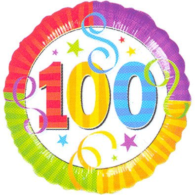 "1 x 100th Birthday Balloon - Flat Foil Balloon - 17"" foil"