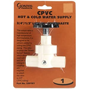 Cpvc hot cold water line valve with waste 3 4 1 2 for Cpvc hot water