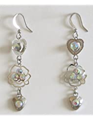 Hearts And Blooms - Metal And White Stone Setting Dangle Earrings - Stone And Metal