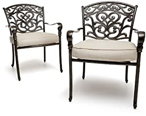 Strathwood St. Thomas Cast Aluminum Dining Arm Chair, Set of 2