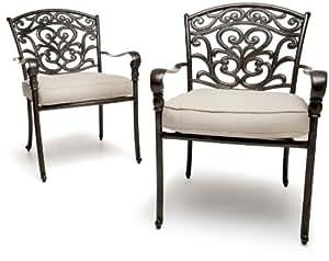 Strathwood St. Thomas Cast Aluminum Dining Arm Chair, Set of 2