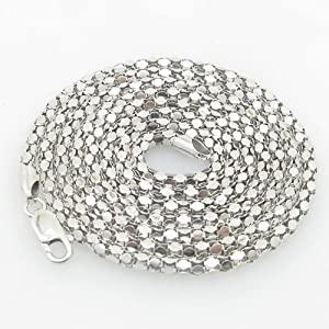 IcedTime-Silver-Necklace-Chains Mens .925 Italian Sterling Silver Popcorn Link Chain Length - 36 inches Width - 3.5mm by ITM