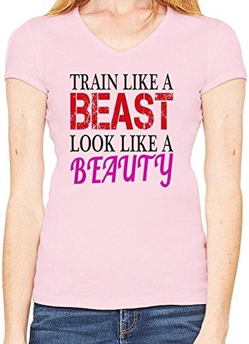 Train Like A Beast Look Like A Beauty Funny Slogan Scollo a V T-shirt da donna XX-Large