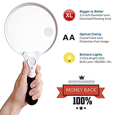Fancii 5.5 Inch Extra Large LED Handheld Magnifying Glass with Light - 2X 4X 10X Lens - Best Jumbo Size Illuminated Reading Magnifier for Books, Newspapers, Maps, Coin, Stamp, Jewelry, Prescriptions from Fancii