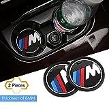 """S-WEKA 2PCS M Line Car Interior Accessories Anti Slip Cup Mat for BMW 1 3 5 7 Series F30 F35 320li 316i X1 X 3 X4 X 5 X6 (2.9"""" dia.(X3/X4/5/7 Series) (2.6""""(66mm))"""
