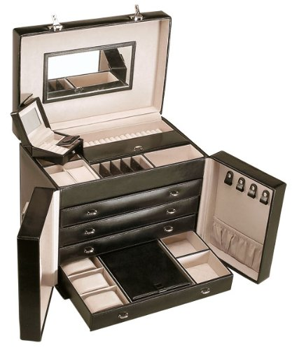 Chrome Leather Large Hinged Lid Jewel Box With 4 Drawers