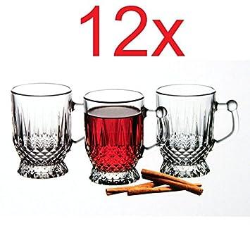 12tlg Teegläser Kaffeeglas mit Henkel Henkelglas Trinkgläser Gläser+Untertasse