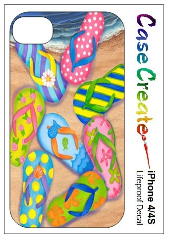 Flip Flops Sandals Decorative Sticker Decal For Your Iphone 4 4S Lifeproof Case front-347880