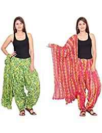 Rama Set Of 2 Printed White & Green Colour Cotton Full Patiala With Dupatta Set