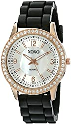 XOXO Women's XO8036 Black Bumpy Silicone Rubber Strap Watch