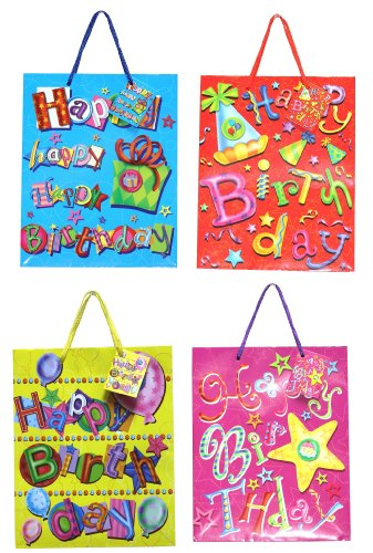 12-Pack Assorted Birthday Gift Bags - Celebration