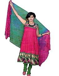 Jodha Women's Cotton Ready To Wear Anarkali (Pink / Blue_Large)