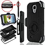 Galaxy S4 Case, S4 Case, Seaplays Shockproof Hybrid Rugged Samsung Galaxy S4 Case Rubber Three Layer Holster Cover Case for Samsung Galaxy S4 i9500 with Built-in Rotating Stand and Belt Swivel Clip (Black)