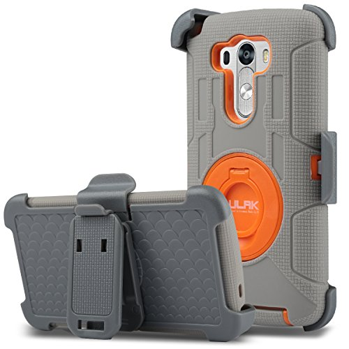 LG G3 Case, ULAK Clip Holster Kickstand Rugged Hybrid Rubber Protective Hard Case for LG G3 2014 (Grey/Orange) (Lg G3 Phone Case With Kickstand compare prices)