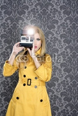 "Wallmonkeys Peel and Stick Wall Decals - Fashion Photographer Retro Camera Reporter Woman - 72""H x 48""W Removable Graphic"
