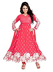 Youth Mantra Women's embroidered Georgette Red Dress materials