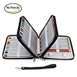 Taotree 120色PUレザー色鉛筆ケース 120本用ペンシルケース 消しゴム/ 鉛筆削り/ 直尺/ 色鉛筆たっぷり収納 筆箱 鉛筆ケース (ブラック)