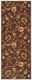 Custom Size CHOCOLATE BROWN Floral Rubber Backed Non-Slip Hallway Stair Runner Rug Carpet 22 inch Wide Choose Your Length 22in X 12ft