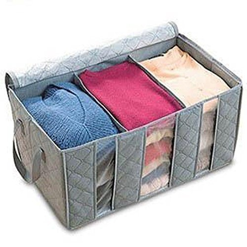 Leshery 65L 60*35*30cm Foldable Storage Bag Clothes Blanket Closet Sweater Organizer Box Charcoal - 1