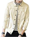【PALERO・パレロ】 選べる5色 ジャケット メンズ ブルゾン スタイル デニム デニムジャケット ジージャン Gジャン 春 秋 長袖 カジュアル 襟 きれいめ ポケット (M, ベージュホワイト)