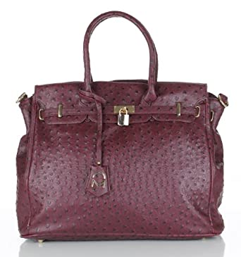 Noble Mount London Office Tote - Ostrich Burgandy