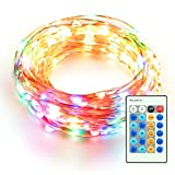 LOENDE Dimmable Indoor Christmas Decorations String Lights, Fairy Starry Rope light for Holiday, Christmas Tree Decor (33FT 100 LEDs, Multi-colored, Waterproof, Remote Control)