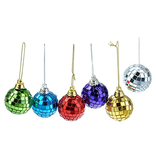 Yerwal 6pcs Disco Mirror Glass Ball Christmas Ball Xmas Tree Ornament Decoration with Cosmos Fastening Strap (Medium Multi color)
