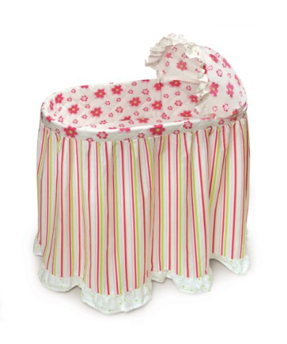 Badger Basket Embrace Baby Bassinet With Bedding Set, Stripe and Flower (Discontinued by Manufacturer) (Discontinued by Manufacturer)