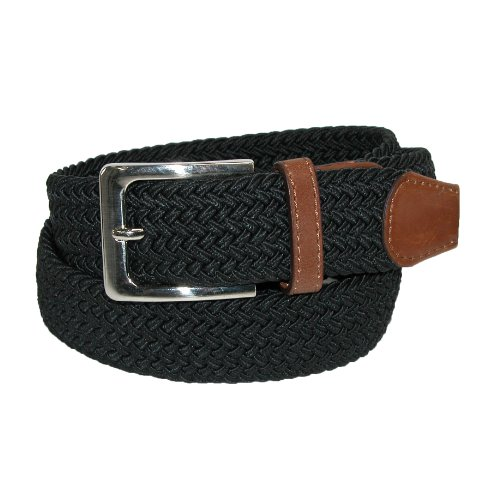 CTM® Mens Elastic Silver Buckle with Tan Tabs Braided Stretch Belt, Medium, Black