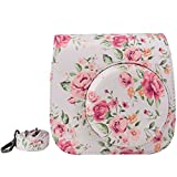Elvam White Vintage Flower Floral PU Leather Fujifilm Instax Mini 8 / Mini 8+ Instant Film Camera Case Bag w/ a Removable Bag Strap