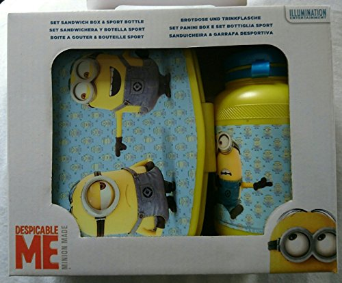 Despicable-Me-Minions-Lunch-Set-2pc-Sport-Bottle-Pack-Lunch-Box-School-Home-by-Minion