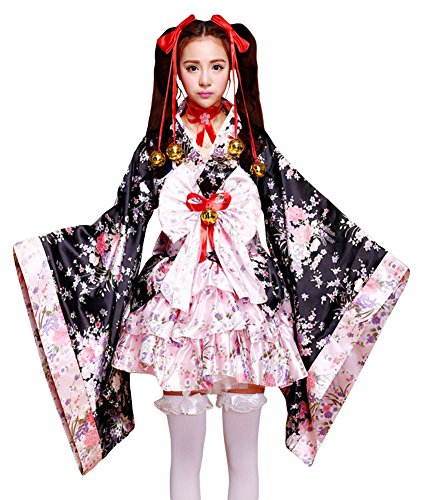 JustinCostume Women's Vintage Satin Floral Kimono Japanese Dress Costumes