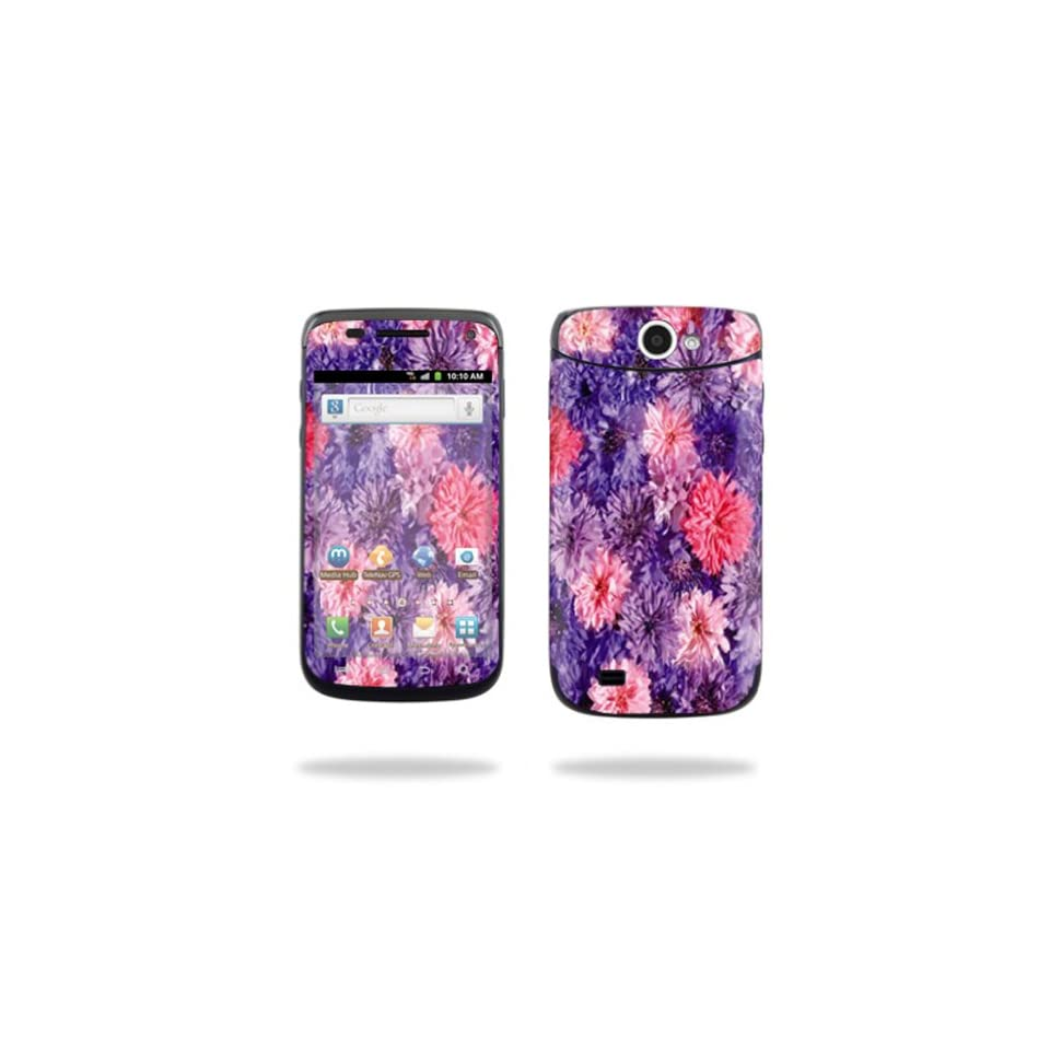 Protective Vinyl Skin Decal Cover for Samsung Exhibit II 4G Android Smartphone Cell Phone Sticker Skins Purple Flowers