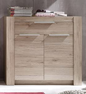dreams4home schuhschrank kuba diele flur garderobe highboard kommode anrichte eiche san remo. Black Bedroom Furniture Sets. Home Design Ideas