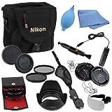 Fotodiox 18-item Camera Gadget Bag Kit for Nikon D3000, D3100, D3200, D5000, D5100, D5200, D7000 with 18-55mm Kit lens, Includes, Camera Bag, 3-52mm Filter Kit (UV, Circular Polarizer, Diffuser), 52mm ND4, 52mm ND8, Hand Strap, 52mm V2. Flower Hood, 2x 5