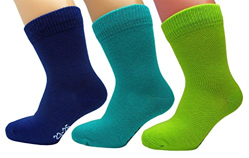 3 Paar Kinder Socken, 98% GEKÄMMTE NATUR BAUMWOLLE, Atmungsaktiv, Vitsocks Kids, 23-26, dreifarbig
