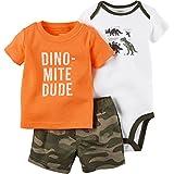Carter's Boys' Diaper Cover Set Orange Dinos, Olive, 6 Months