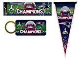 NFL New England Patriots Super Bowl XLIX Champion Pack Including Pennant, Bumper Sticker and Crystal View Keychain, 12 by 30-Inch, White