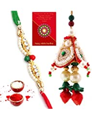 Ethnic Rakhi Fashionable And Stylish Rajasthani Multi-Color Floral Pattern Bhaiya Bhabhi Mauli Thread And Beads... - B01IIMIRZ6