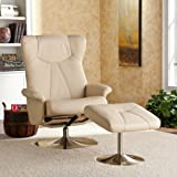 Adjustable Bonded Leather Recliner and Ottoman , Office Chair - French Vanilla