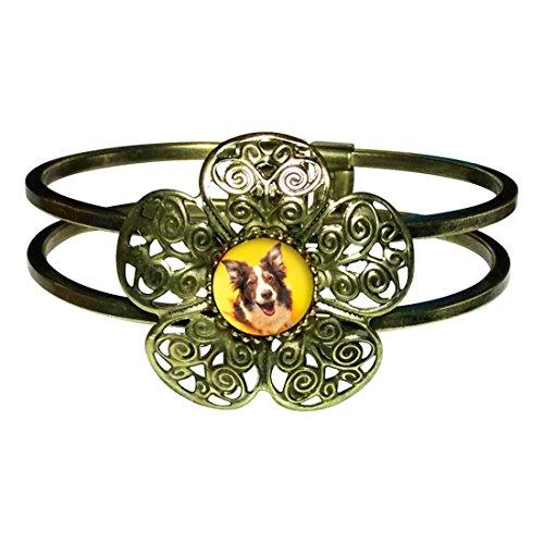Giftjewelryshop Bronze Retro Style Border Collie Dog Sun Flower Cuff Bangle Bracelet Fashion Jewelry